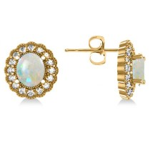 Opal & Diamond Floral Oval Earrings 14k Yellow Gold (5.96ct)