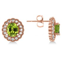 Peridot & Diamond Floral Oval Earrings 14k Rose Gold (5.96ct)