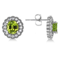 Peridot & Diamond Floral Oval Earrings 14k White Gold (5.96ct)