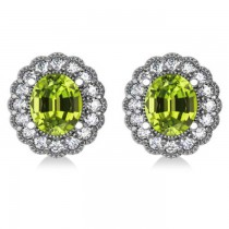Peridot & Diamond Floral Oval Earrings 14k White Gold (5.96ct)|escape
