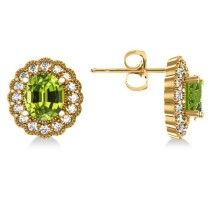 Peridot & Diamond Floral Oval Earrings 14k Yellow Gold (5.96ct)