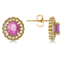 Pink Sapphire & Diamond Floral Oval Earrings 14k Yellow Gold (5.96ct)