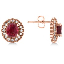 Ruby & Diamond Floral Oval Earrings 14k Rose Gold (5.96ct)