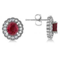 Ruby & Diamond Floral Oval Earrings 14k White Gold (5.96ct)