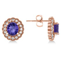 Tanzanite & Diamond Floral Oval Earrings 14k Rose Gold (5.96ct)