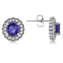 Tanzanite & Diamond Floral Oval Earrings 14k White Gold (5.96ct)