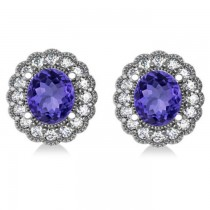 Tanzanite & Diamond Floral Oval Earrings 14k White Gold (5.96ct)