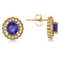 Tanzanite & Diamond Floral Oval Earrings 14k Yellow Gold (5.96ct)