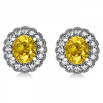 Yellow Sapphire & Diamond Floral Oval Earrings 14k White Gold (5.96ct)