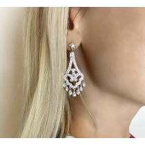 Dangling Chandelier Diamond Earrings 14K White Gold (1.08ct)
