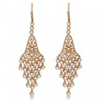 Bezel-Set Dangling Chandelier Diamond Earrings 14K Rose Gold (2.27ct)