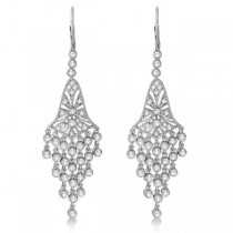 Bezel-Set Dangling Chandelier Diamond Earrings 14K White Gold (2.27ct)
