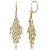 Bezel-Set Dangling Chandelier Diamond Earrings 14K Yellow Gold (2.27ct)