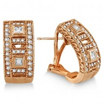Princess & Round Diamond Huggie Earrings 18K Rose Gold (1.00ct)