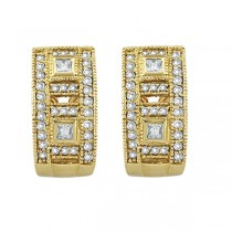 Princess & Round Diamond Huggie Earrings 18K Yellow Gold (1.00ct)