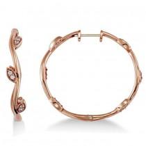 Diamond Accented Vine Leaf Loop Earrings 14k Rose Gold (0.36ct)