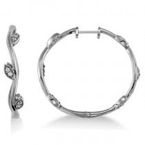 Diamond Accented Vine Leaf Loop Earrings 14k White Gold (0.36ct)