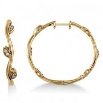Diamond Accented Vine Leaf Loop Earrings 14k Yellow Gold (0.36ct)
