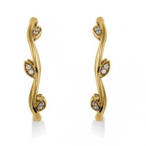 Diamond Accented Vine Leaf Loop Earrings 14k Yellow Gold (0.36ct)|escape