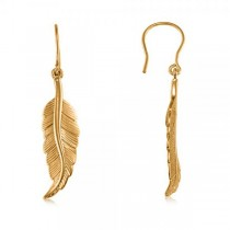 Dangling Feather Earrings in Plain Metal 14k Yellow Gold
