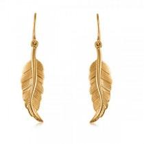 Dangling Feather Earrings in Plain Metal 14k Yellow Gold