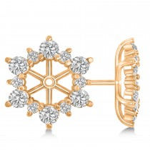 Diamond Flower Halo Earring Jackets 14k Rose Gold (2.20ct)