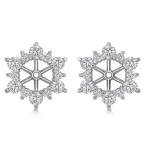 Diamond Flower Halo Earring Jackets 14k White Gold (1.20ct)