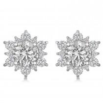 Diamond Flower Halo Earring Jackets 14k White Gold (1.20ct)