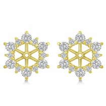 Diamond Flower Halo Earring Jackets 14k Yellow Gold (2.20ct)