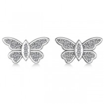 Diamond Butterfly Earrings 14k White Gold (0.16ct)