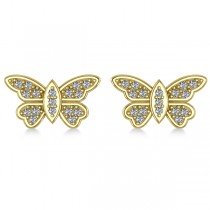 Diamond Butterfly Earrings 14k Yellow Gold (0.16ct)|escape