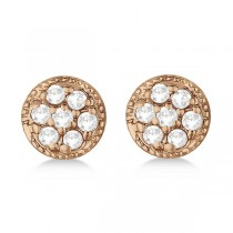 Antique Style Push Back Diamond Earrings Milgrain Edged 14k Rose Gold (0.30ct)
