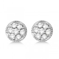 Antique Style Push Back Diamond Earrings Milgrain Edged 14k White Gold (0.30ct)|escape