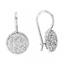 Pave Set Diamond Circle Earrings 14K White Gold (0.65ct)