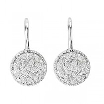 Pave Set Diamond Circle Earrings 14K White Gold (0.65ct)|escape