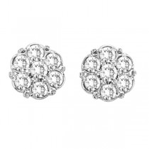 Flower Diamond Cluster Stud Earrings in 14K White Gold (0.54 ctw)|escape