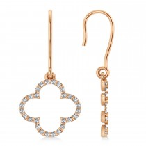 Diamond Clover Drop Earrings 14K Rose Gold (0.56ct)