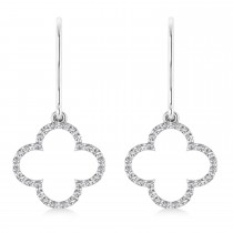 Diamond Clover Drop Earrings 14K White Gold (0.56ct)