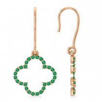 Emerald Clover Drop Earrings 14K Rose Gold (0.56ct)