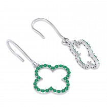Emerald Clover Drop Earrings 14K White Gold (0.56ct)