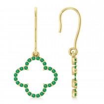 Emerald Clover Drop Earrings 14K Yellow Gold (0.56ct)