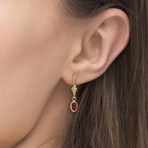 Oval Garnet Lever-back Drop Earrings in 14K Yellow Gold (1.10ct)