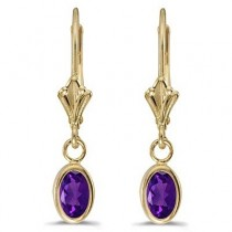 Oval Amethyst Lever-back Drop Earrings in 14K Yellow Gold (0.90ct)