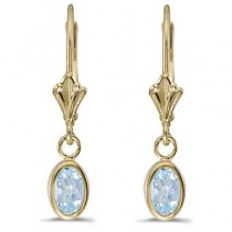 Oval Aquamarine Lever-back Drop Earrings in 14K Yellow Gold (0.80ct)