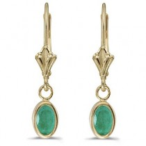 Oval Emerald Lever-back Drop Earrings in 14K Yellow Gold (0.90ct)