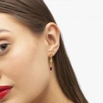 Oval Ruby Lever-back Drop Earrings in 14K Yellow Gold (1.20ct)