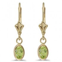 Oval Peridot Lever-back Drop Earrings in 14K Yellow Gold (1.10ct)