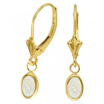 Oval Opal Bezel Leverback Earrings in 14K Yellow Gold (0.54ct)