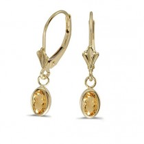 Oval Citrine Leverback Drop Earrings in 14K Yellow Gold (0.90ct)