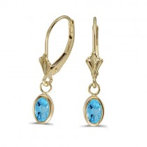 Oval Blue Topaz Leverback Drop Earrings in 14kt Yellow Gold (1.14ct)